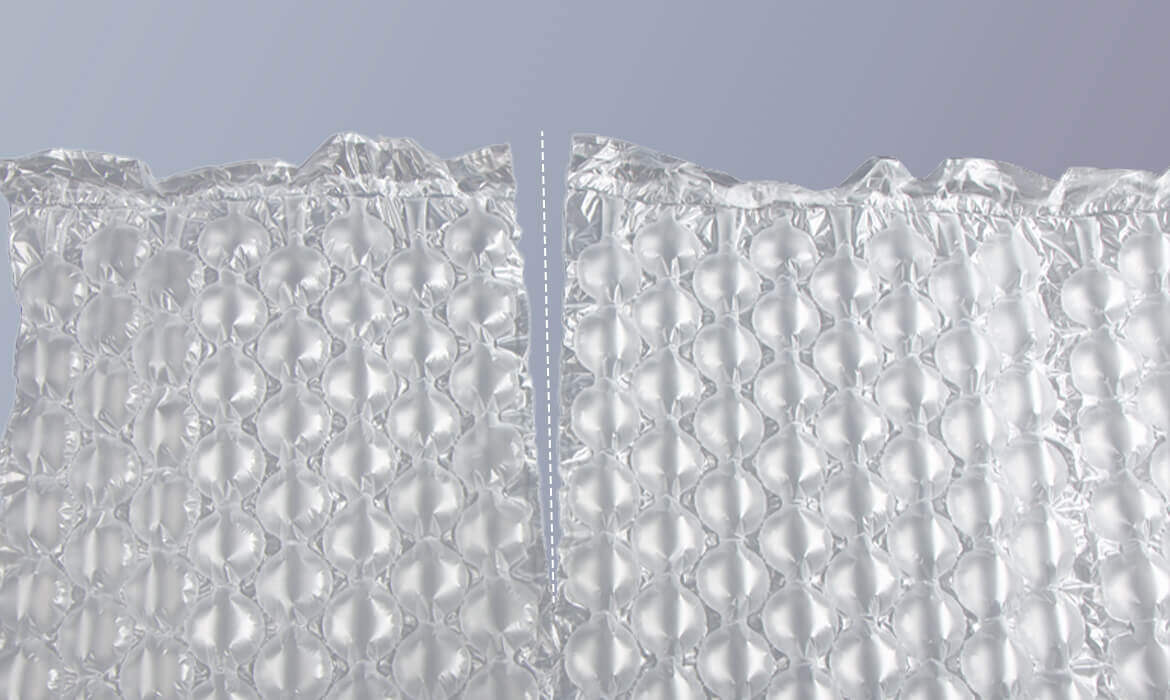 air bubble cushioning film with perforation line